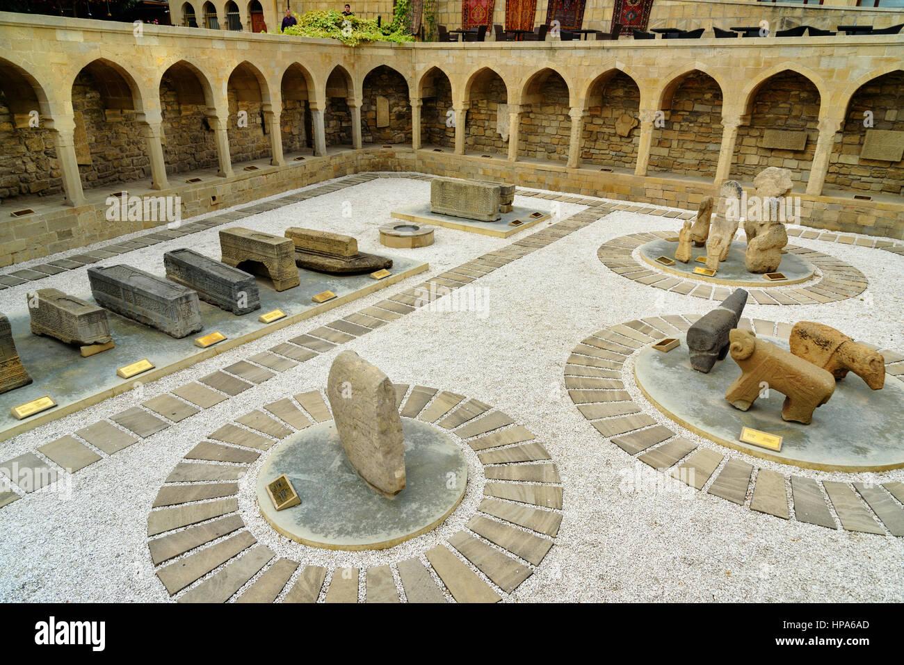 Baku, Azerbaijan - September 10, 2016: Arcades and religious burial place in Old city, Icheri Sheher is the historical - Stock Image