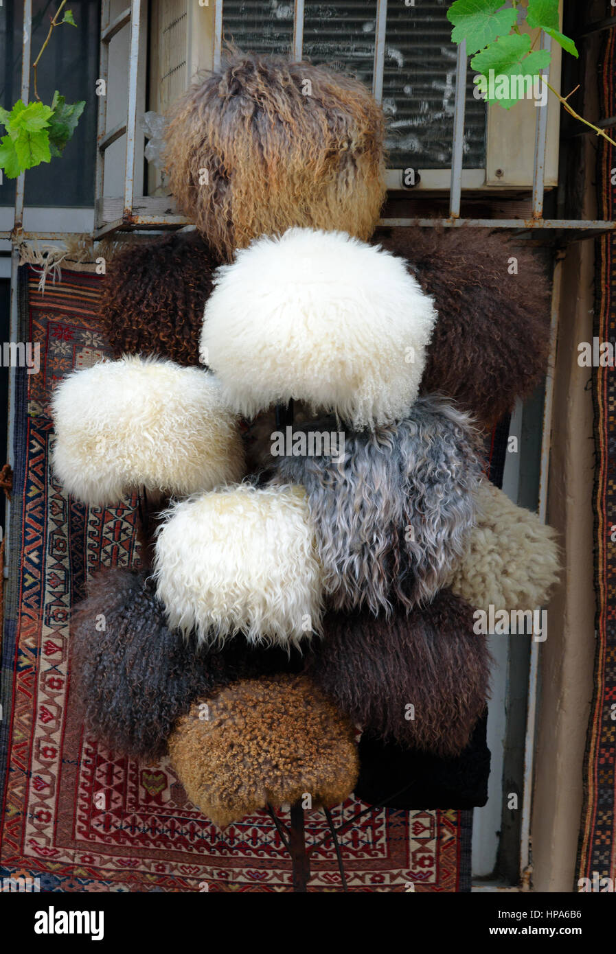 Baku, Azerbaijan - September 10, 2016: Sheep hats in market at Old city, Icheri Sheher is the historical core of - Stock Image
