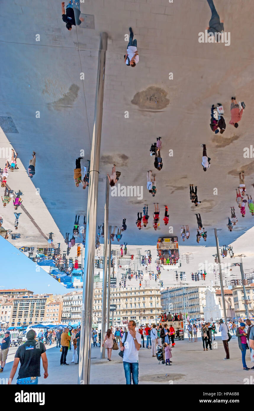 MARSEILLE, FRANCE - MAY 4, 2013: Tourists and locals enjoy reflection in mirrored ceiling of Port Vieux Pavilion, - Stock Photo