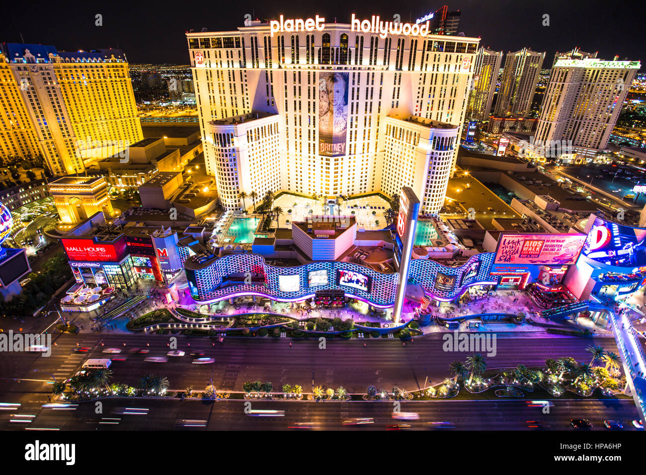 AS VEGAS, NEVADA - MAY 7, 2014: Beautiful night view of Las Vegas strip with colorful resort casinos lit up. - Stock Image
