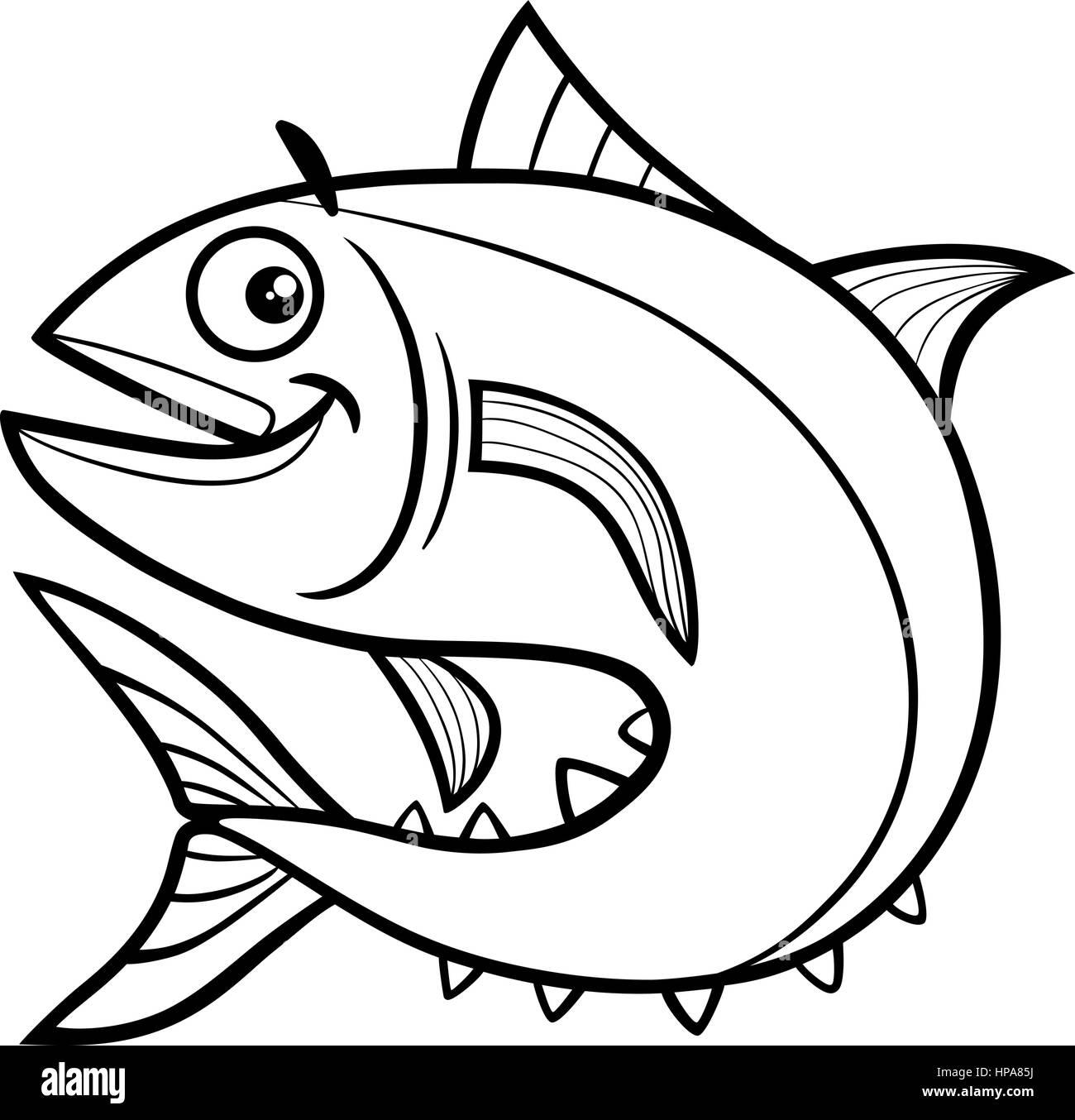 Black and White Cartoon Illustration of Tuna Fish Sea Life Animal ...