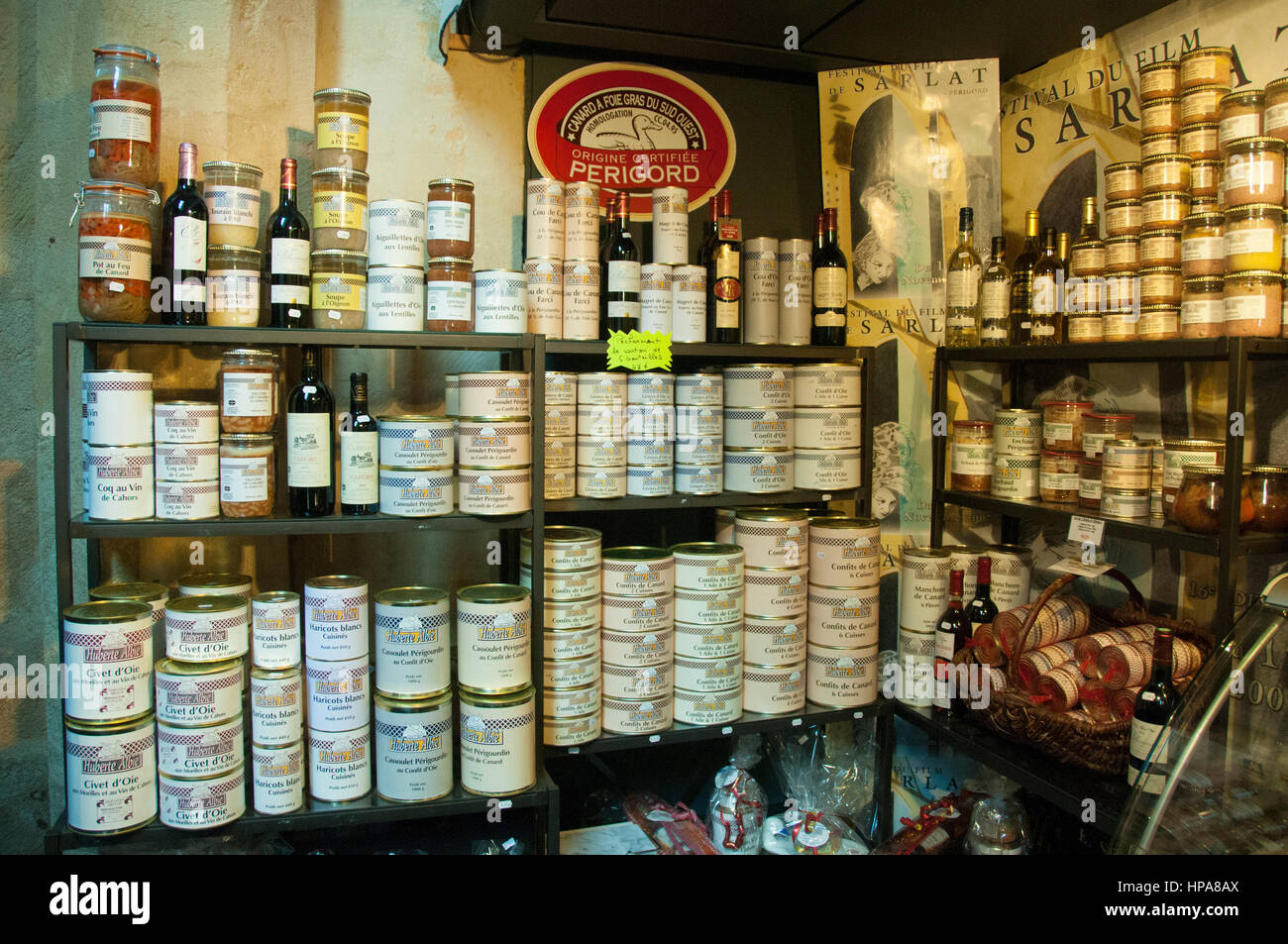 Tins of duck confit in a shop in Sarlat, Dordogne, France - Stock Image