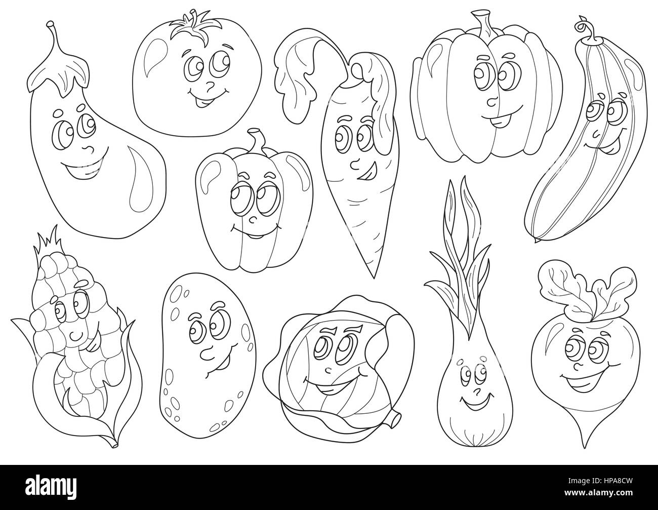Coloring Book With Vegetables Vector Illustration For Kids Stock