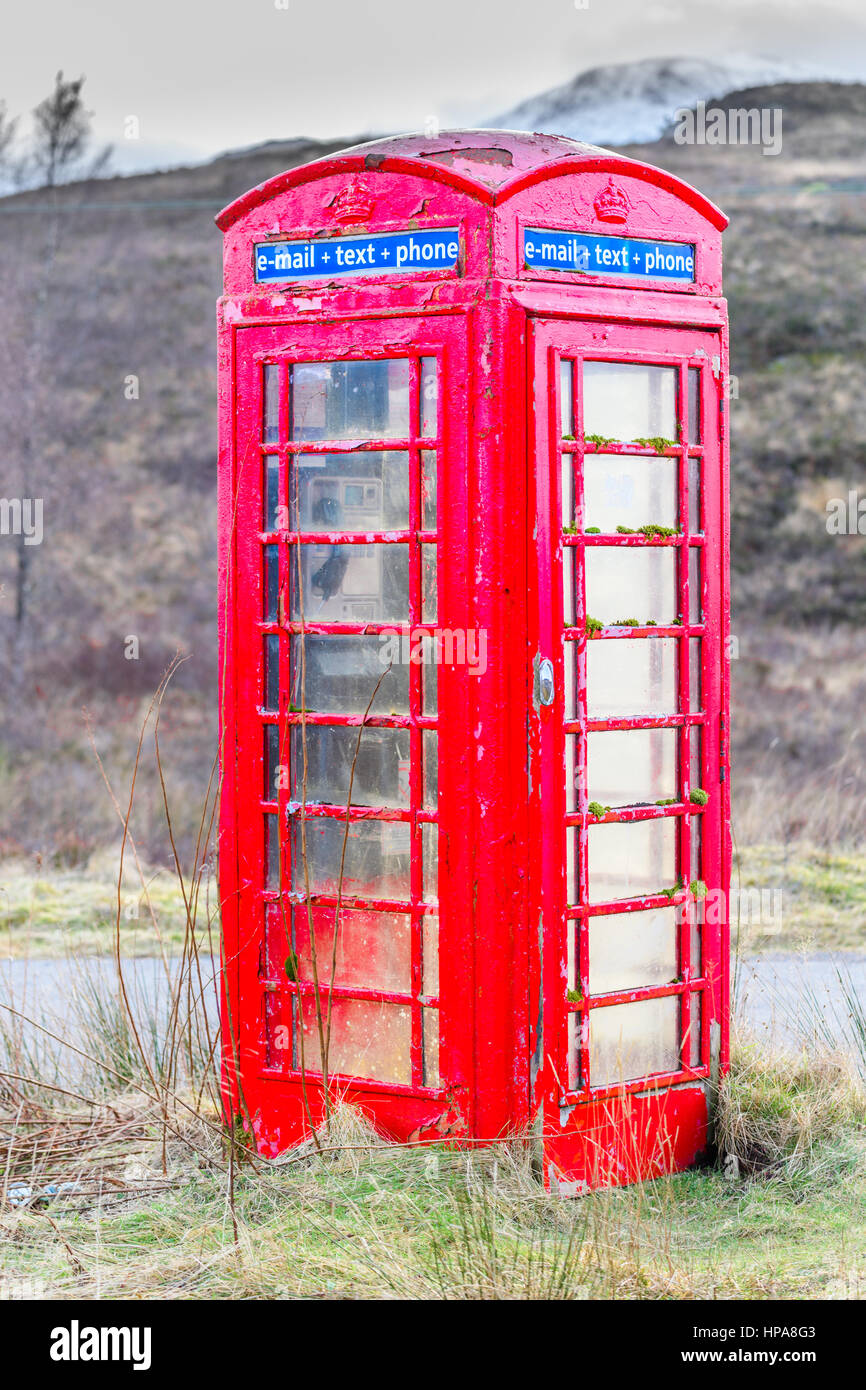 Phone box, scottish highlands. - Stock Image