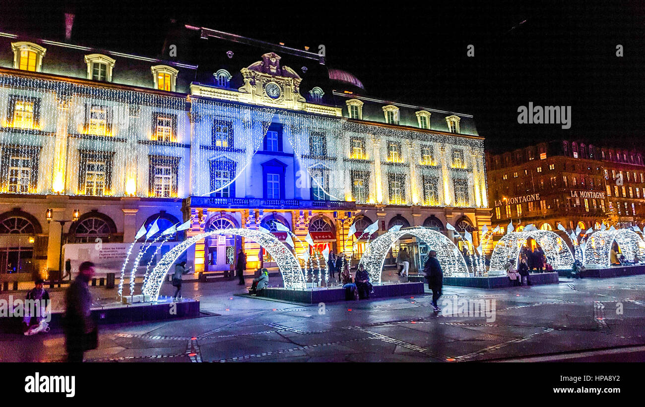 Christmas decoration in Clermont-Ferrand, Puy de Dome, Auvergne, France, Europe - Stock Image