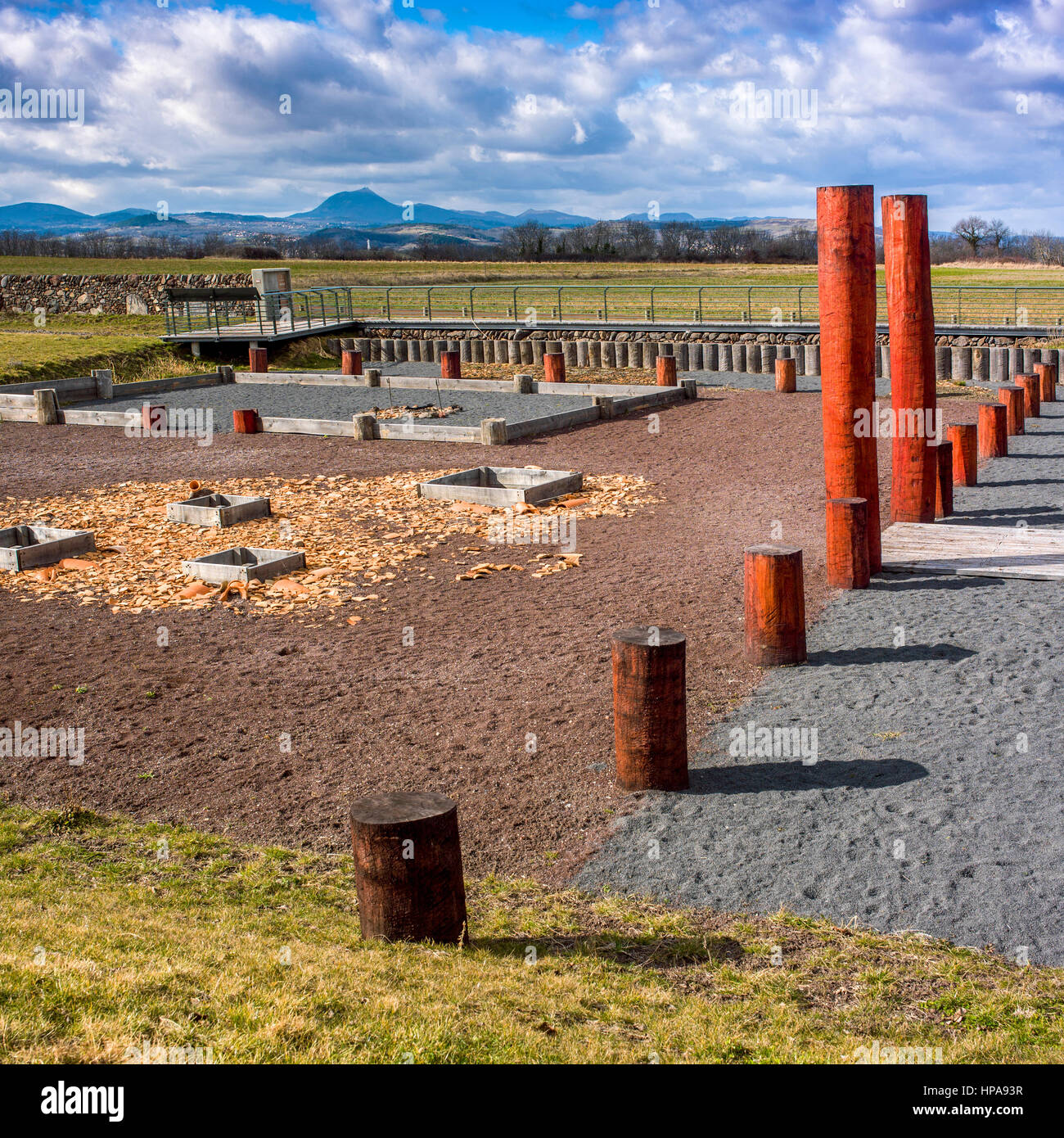 Gaul oppidum of Corent, archeological site, Puy de Dome, France, Europe - Stock Image