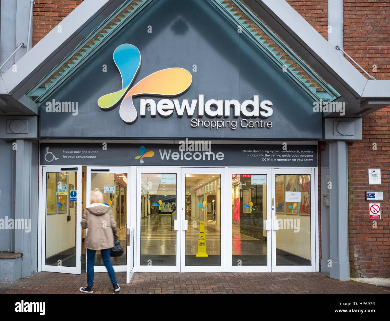 Entrance to the Newlands shopping centre, Kettering - Stock Image