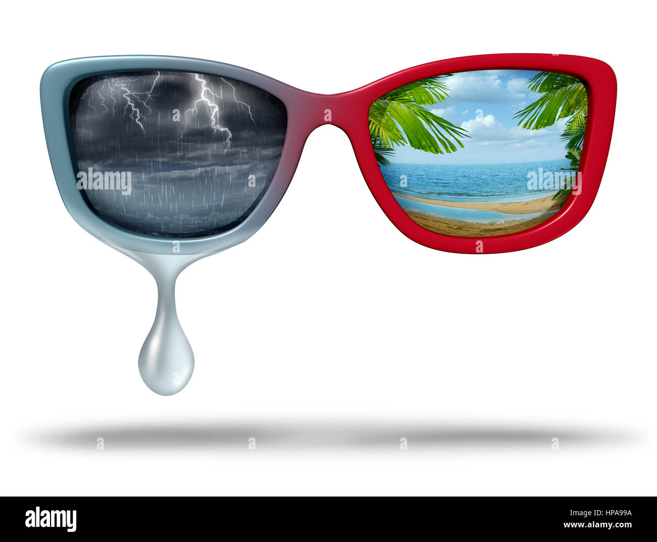 Mood swings and chemical imbalance as a psychological disorder as eye glasses with dark storm weather and another - Stock Image