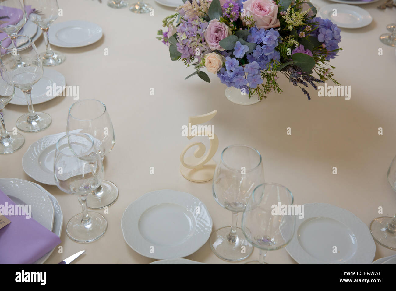 Wedding Flower Arrangement With Blue Violet Pink Flowers Stock Photo