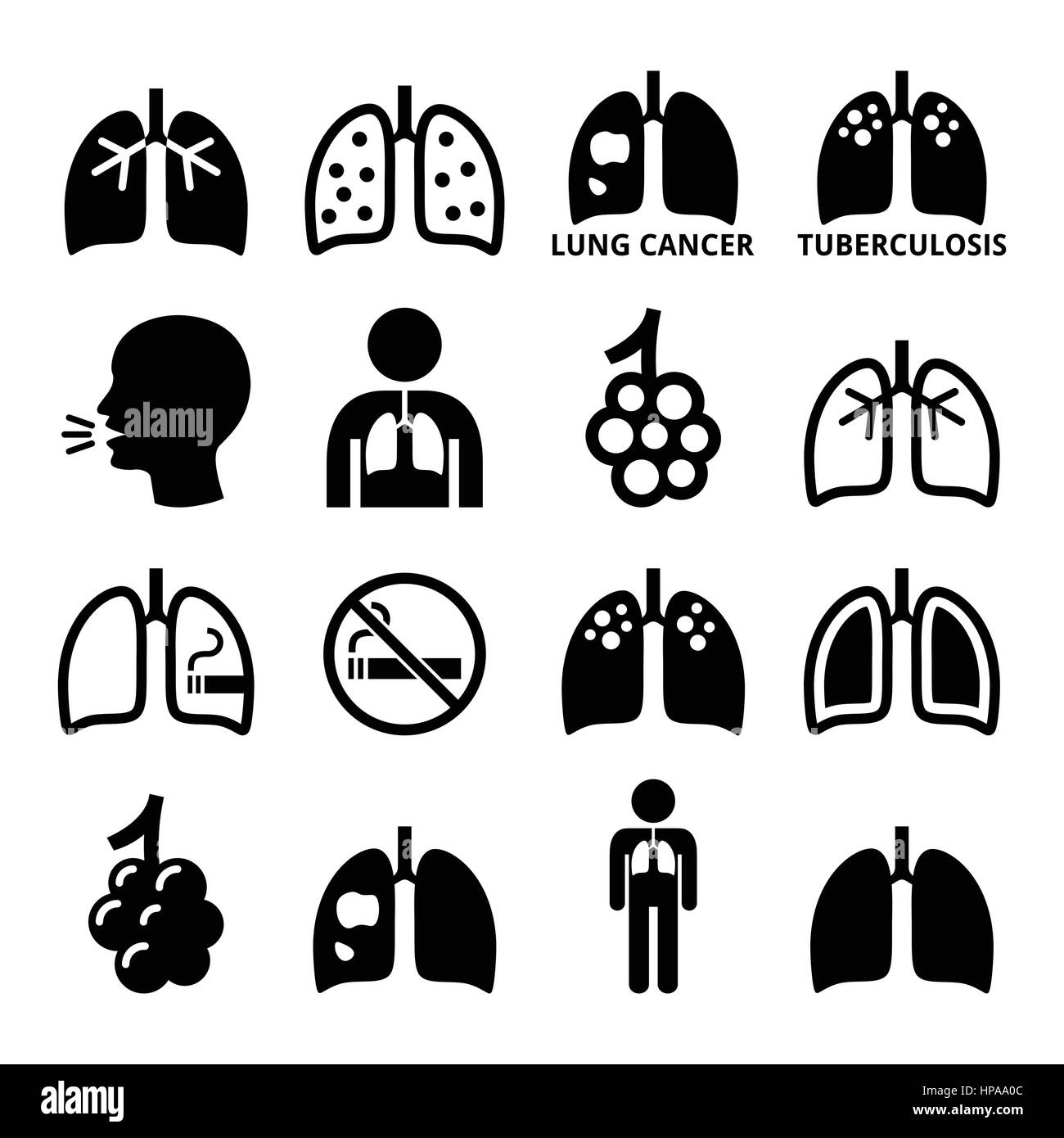 Lungs, lung disease icons set - Stock Image