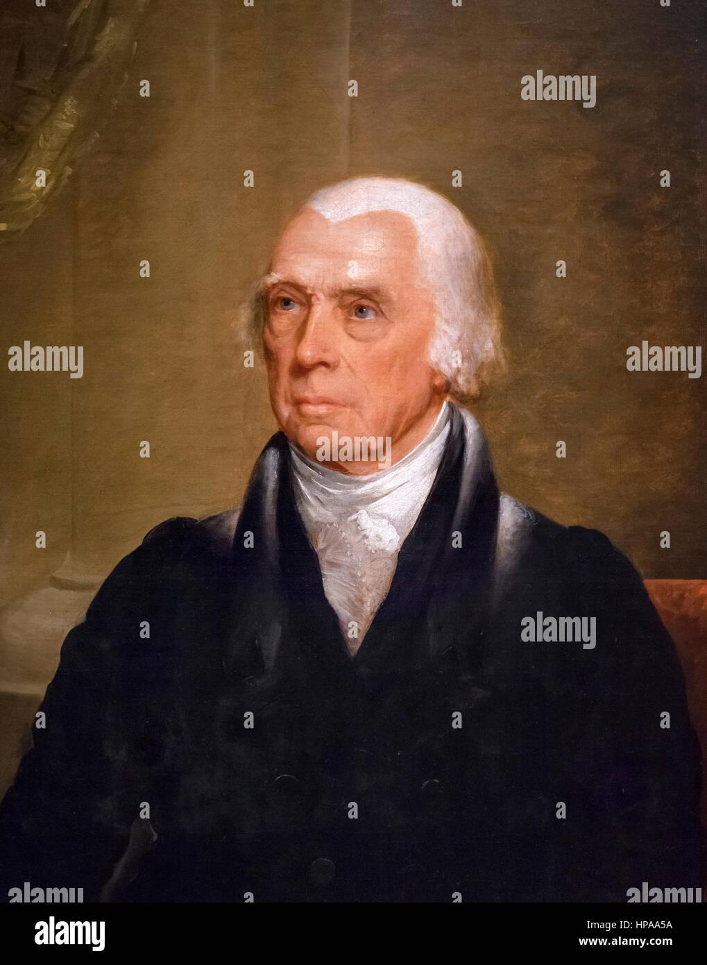 James Madison. Portrait of the 4th US President, James Madison (1751-1836) by Chester Harding, oil on canvas, c.1829 - Stock Image