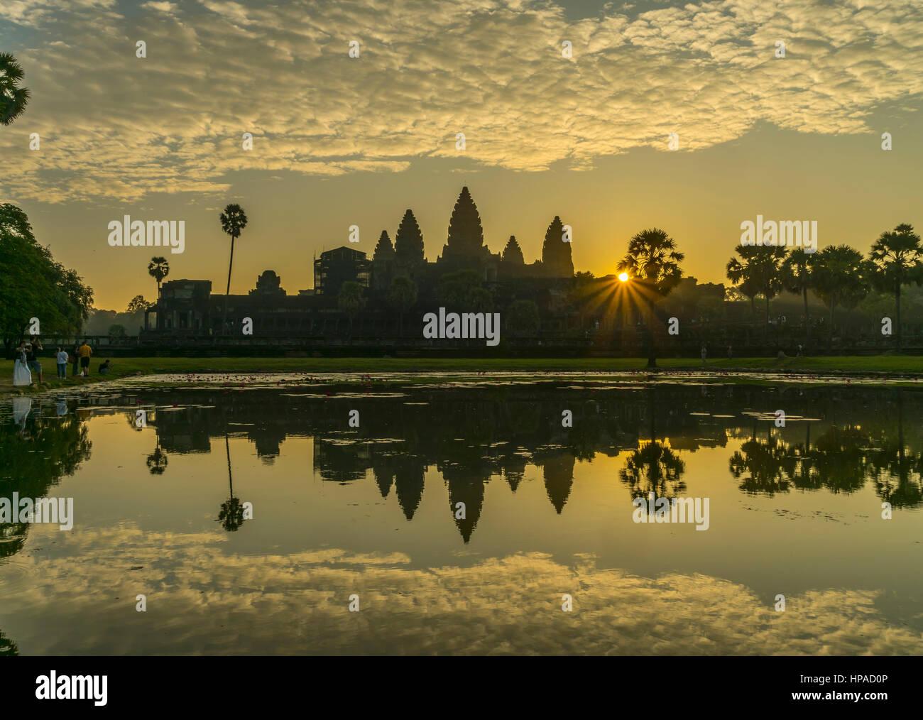 Sunrise, Angkor Wat, Cambodia - Stock Image