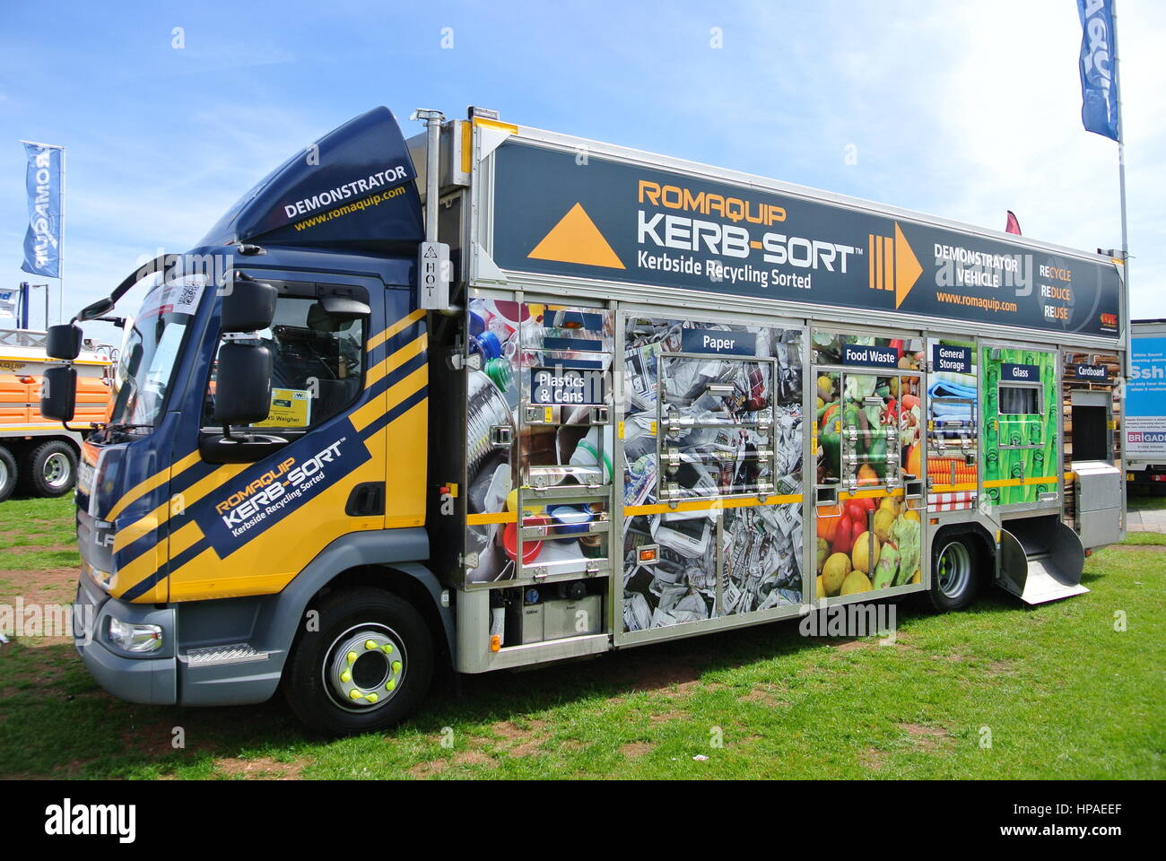 Roadside Waste Recycling Lorry parked on display Stock Photo