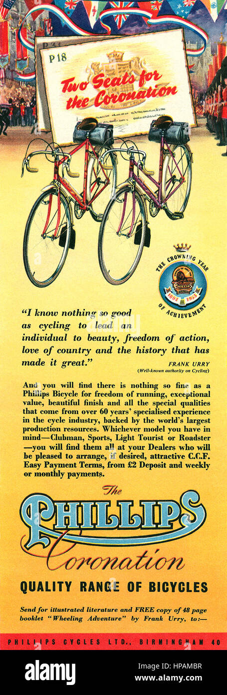1953 British advertisement for Phillips Bicycles. - Stock Image