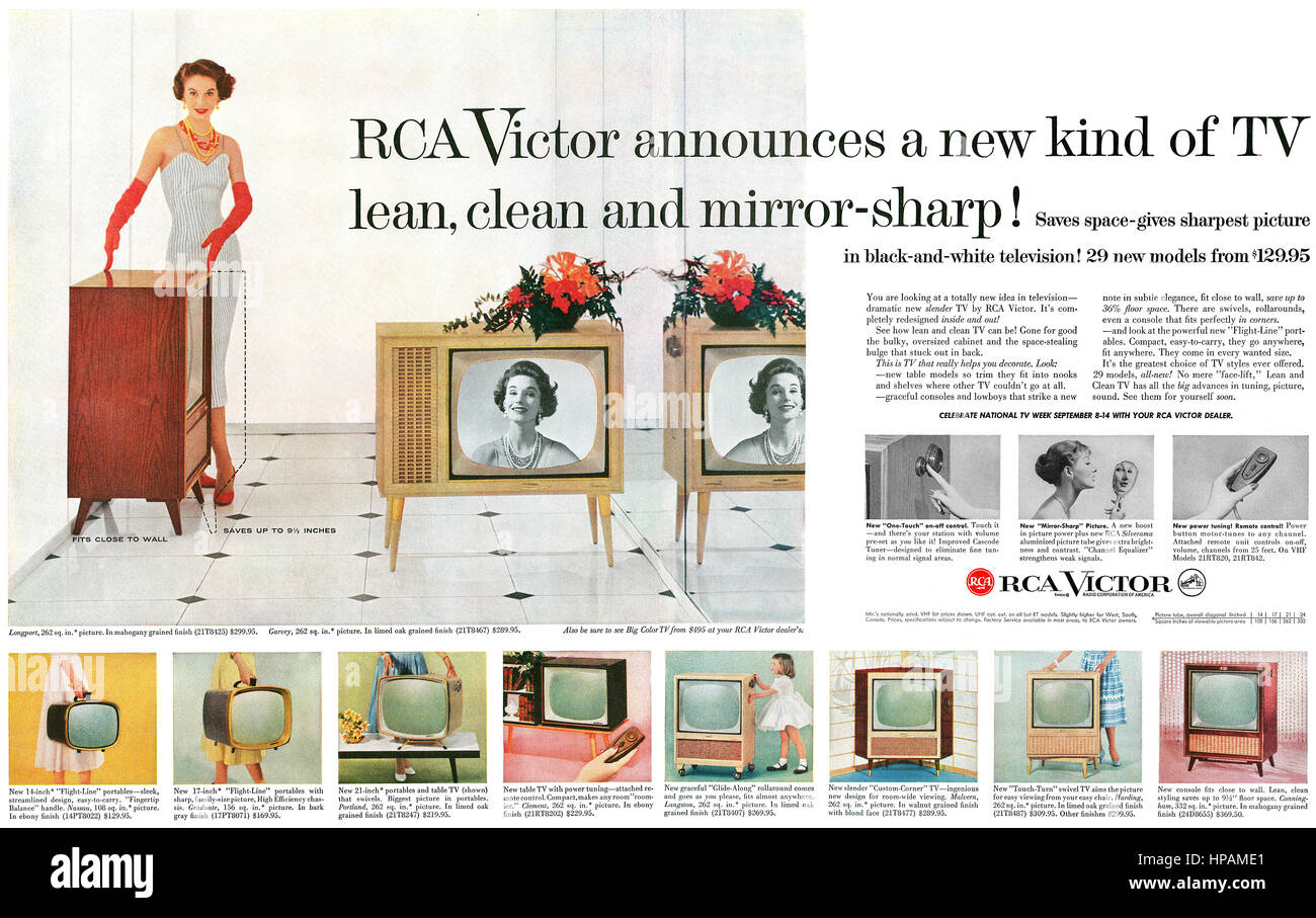 1957 U.S. advertisement for RCA Victor Televisions. - Stock Image