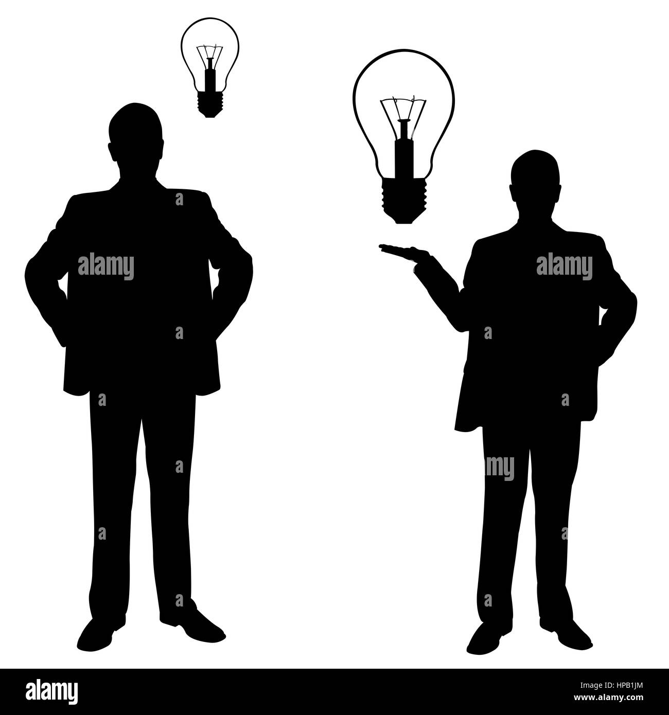 Silhouettes of men with light bulbs isolated on white - Stock Image