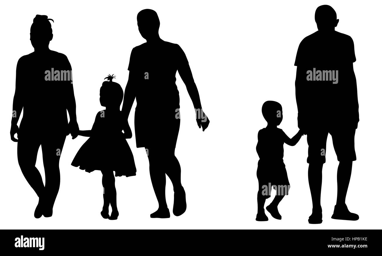 Silhouettes of parents holding kids hands isolated on white - Stock Image