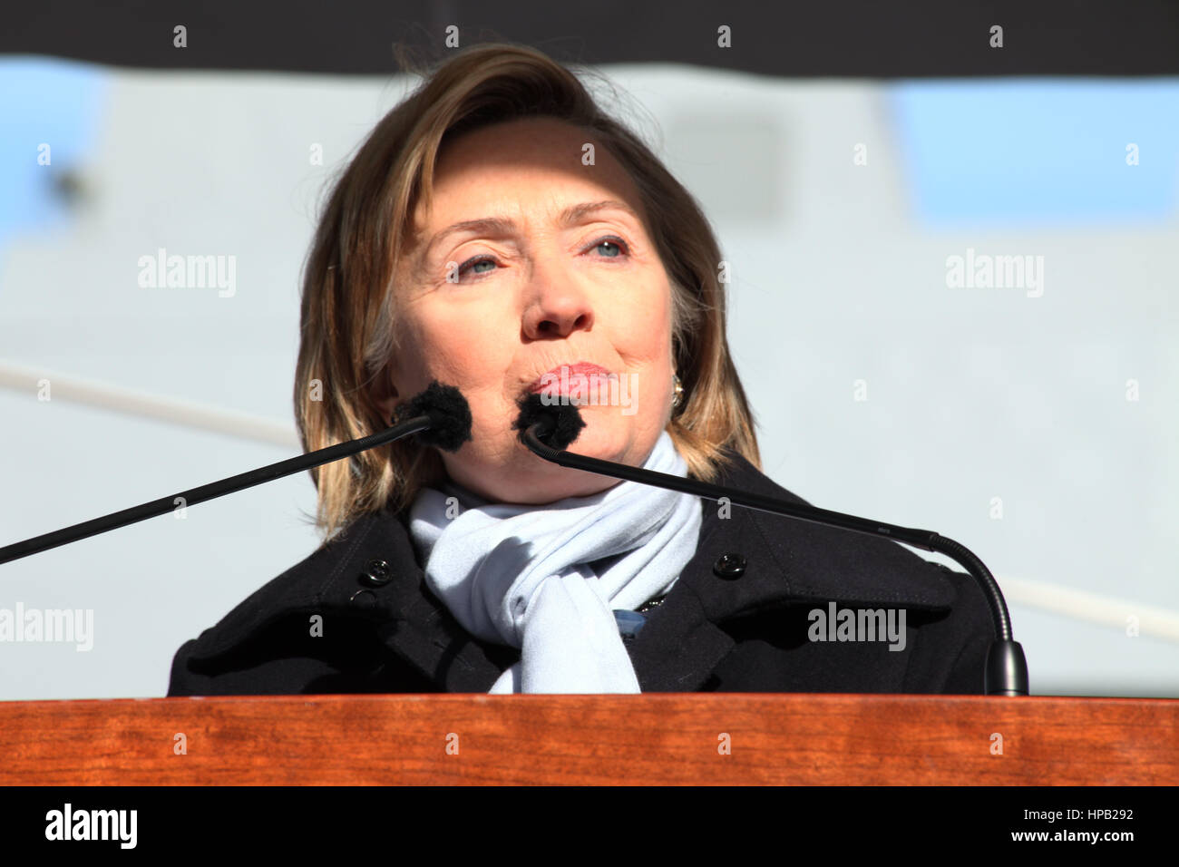 U.S. Secretary of State Hillary Clinton speaks during the USN San Antonio-class amphibious transport dock ship USS Stock Photo