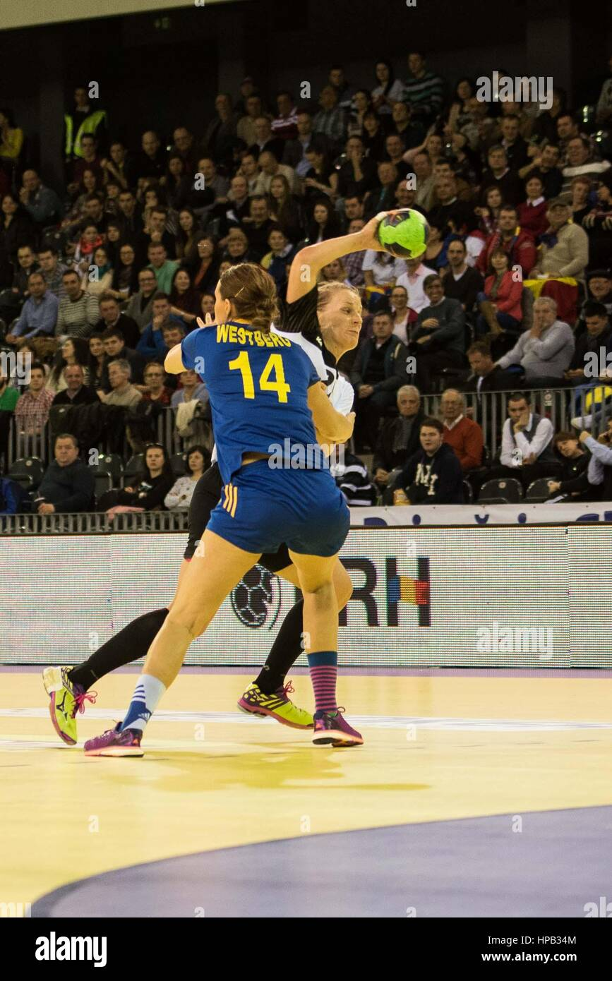 March 20, 2015: Susan Muller #22 of Germany National Team   in action during the women's Carpathian Trophy handball Stock Photo