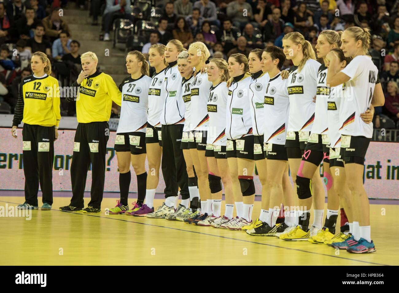 March 20, 2015: The Germany team before the free throws from left to right: Katja Schulke, Clara Woltering, Worez - Stock Image
