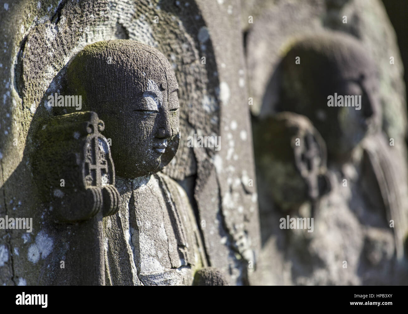 Buddhistischer Grabstein, Tokio, Japan - Stock Image