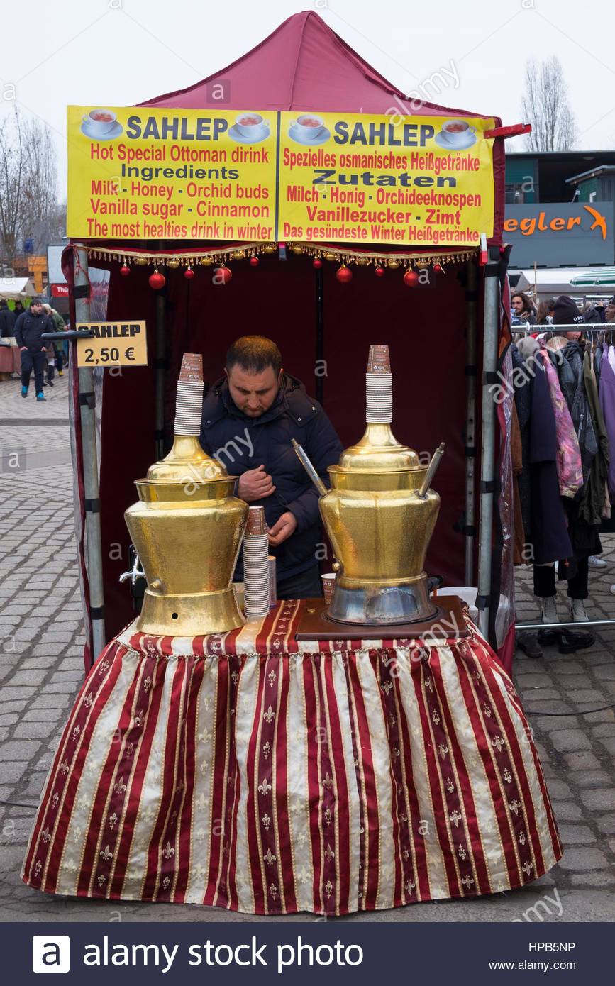 Sahlep Middle Eastern drink stall at weekend Mauer Park Market on Sunday in Prenzlauer Berg Berlin, Germany - Stock Image