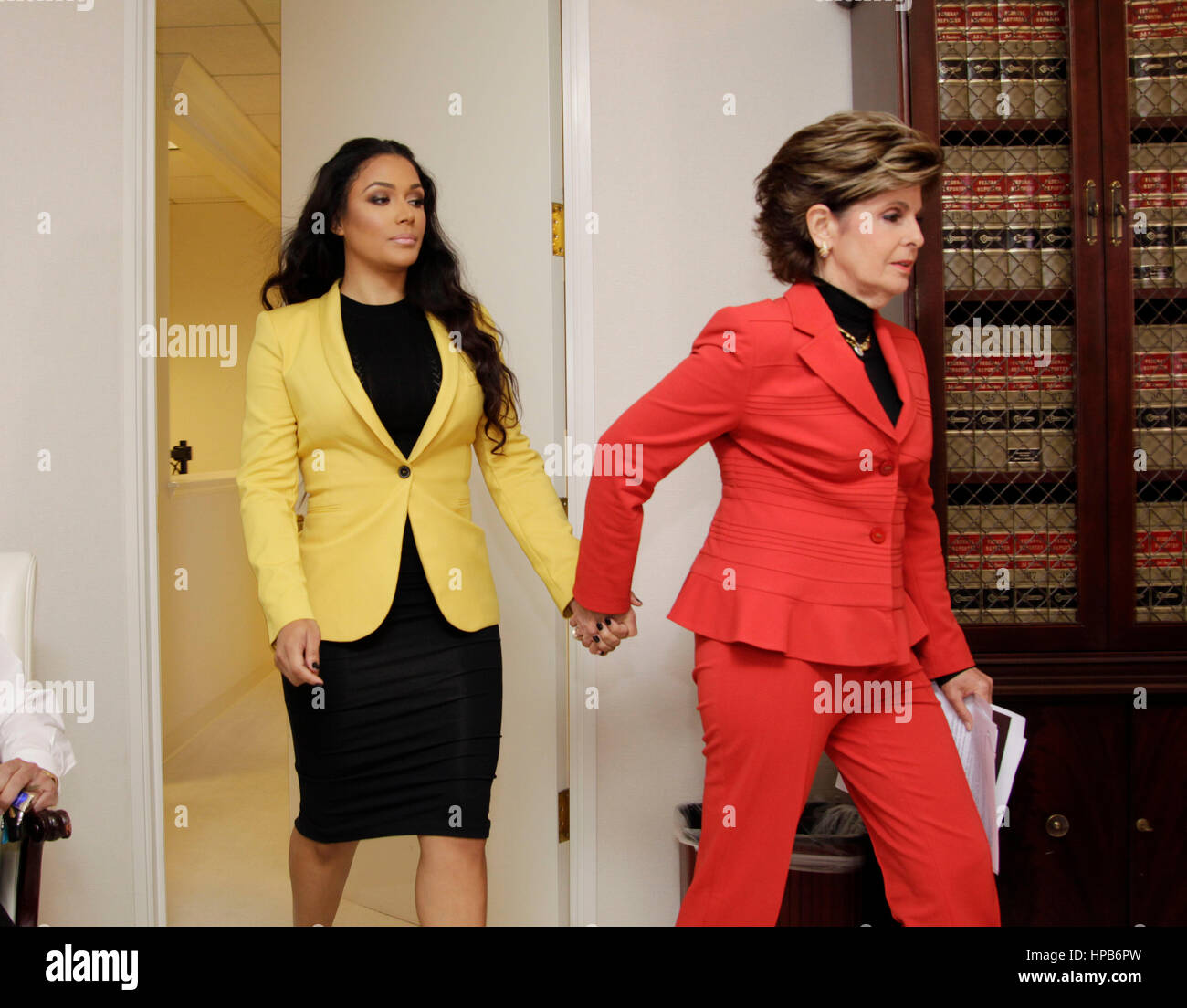 Attorney Gloria Allred, in red, and Shantel Jackson during a