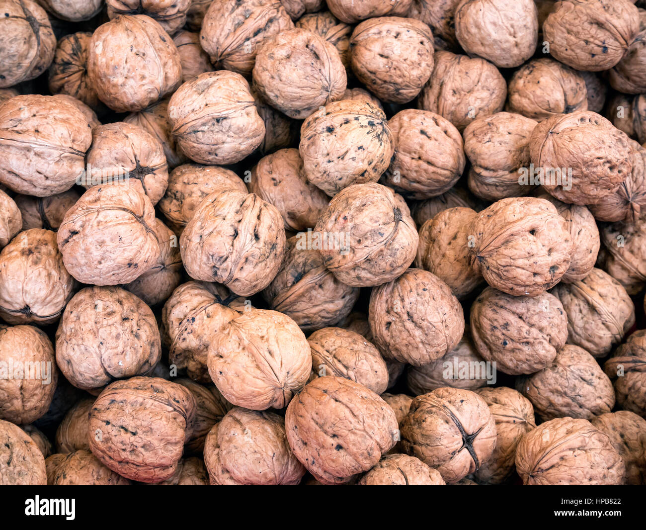 Walnuts in a big bunch ready to eat Stock Photo