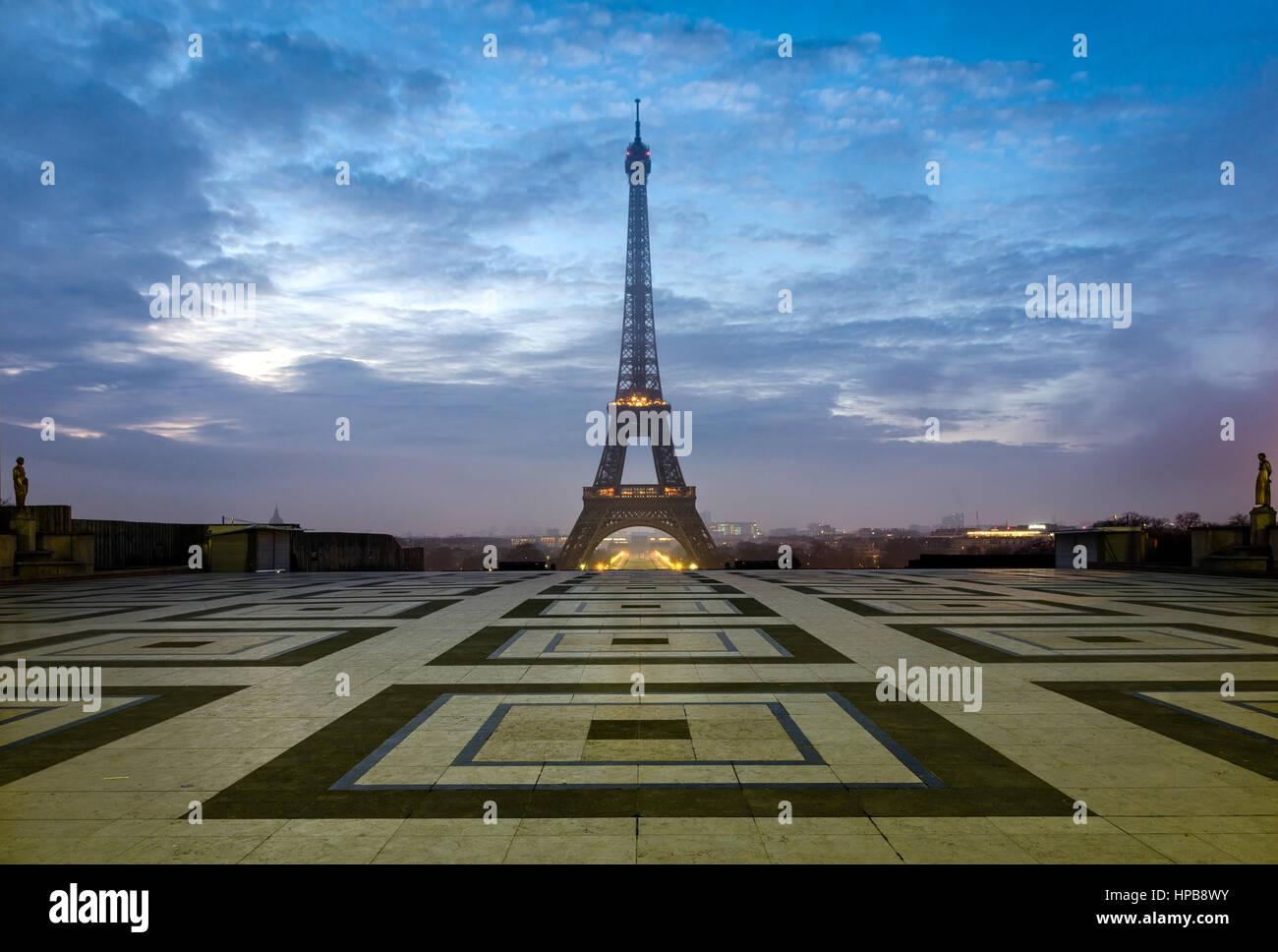 Paris Tour Eiffel from Trocadero at morning twilight - Stock Image
