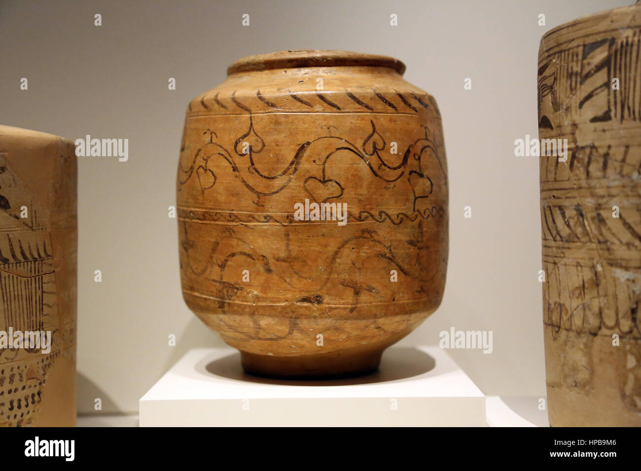 Vessels painted in the indigenous style. 1st century BC-1st century AD. Arcobriga, Zaragoza, Spain. . Arcobriga, - Stock Image
