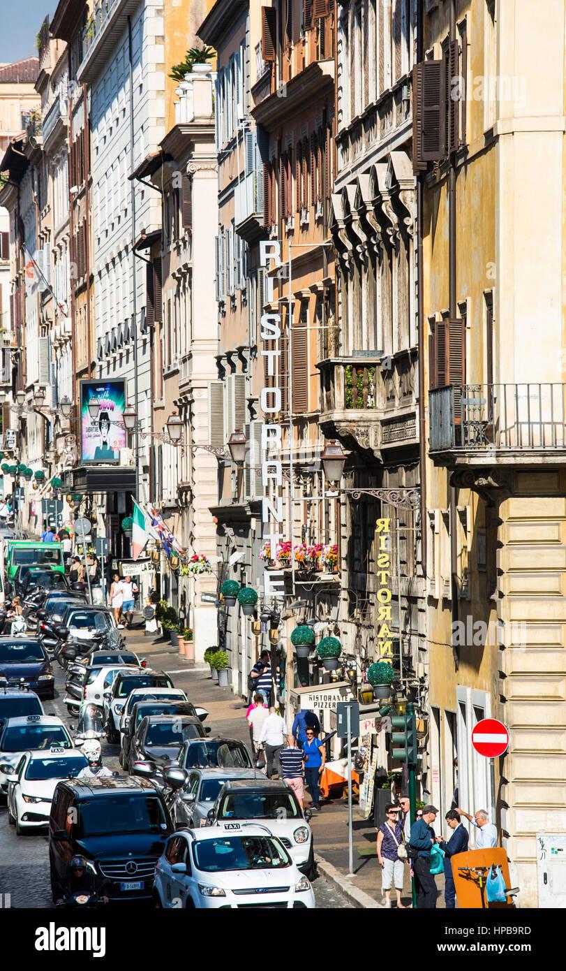 A busy street scene in Rome, Lazio, Italy, Europe - Stock Image