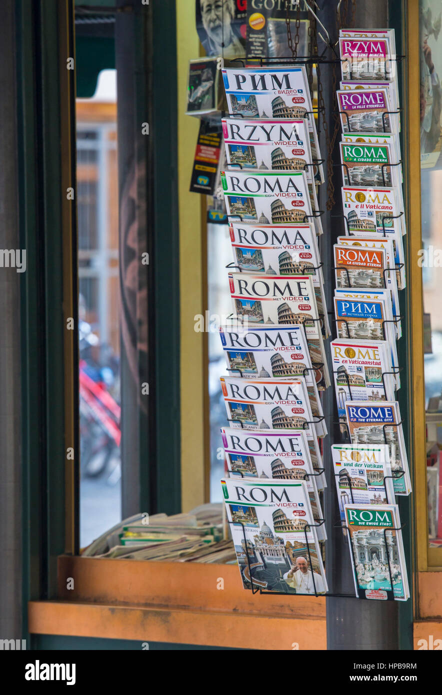 Rome tourist guidebooks in a selection of languages for sale, Rome, Italy, Lazio, Europe - Stock Image