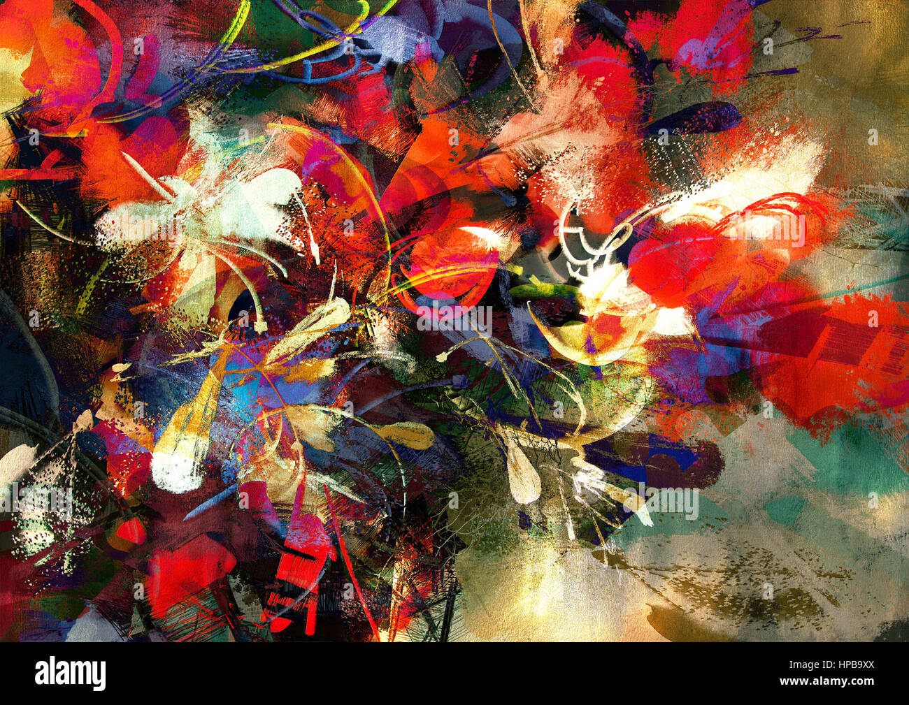Digital Painting Of Abstract Bright Colorful Flowers