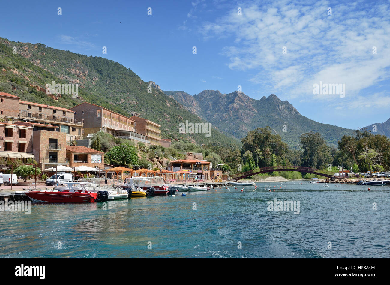 Coastal village Porto has a small port. It is situated in the centre of the most scenic highlights of Corsica. - Stock Image