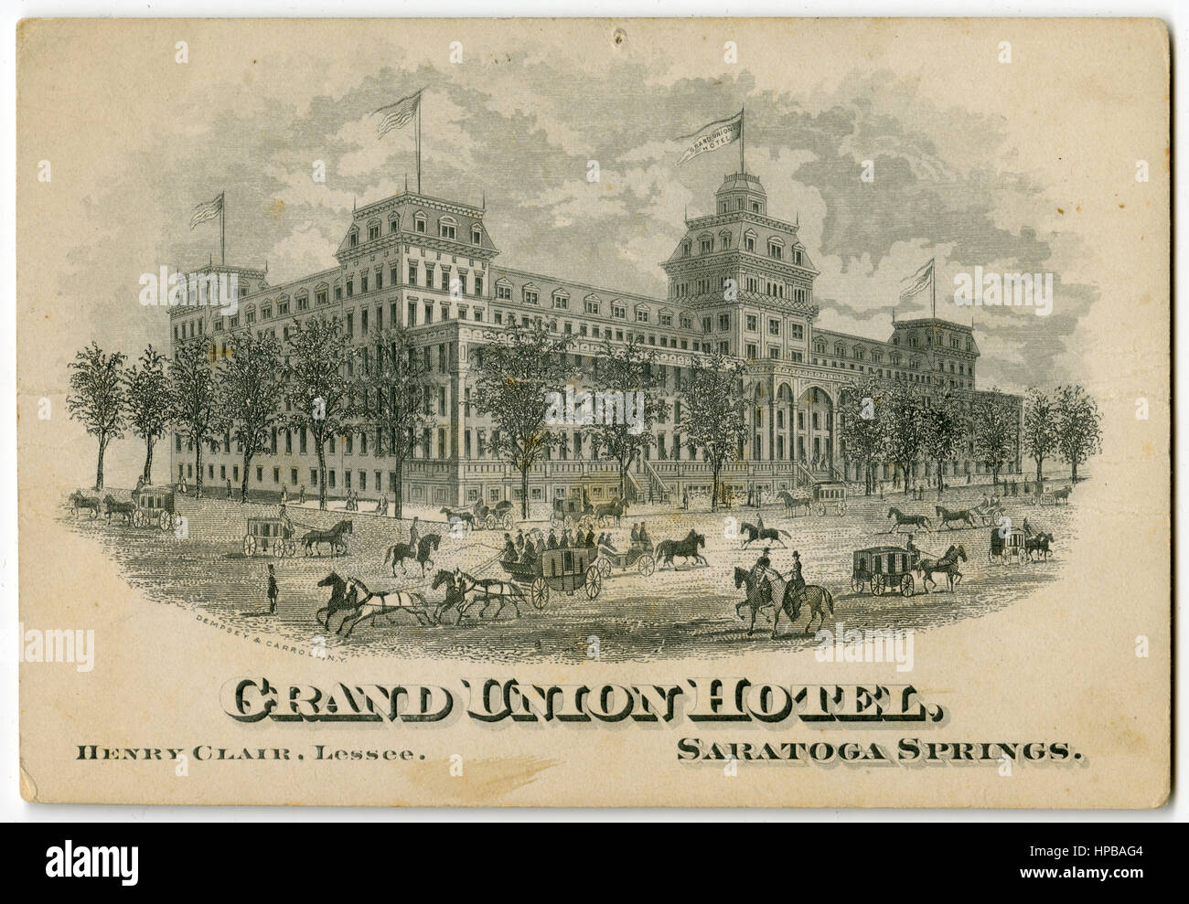 Antique c1890 Victorian trade card for Grand Union Hotel in Saratoga Springs, New York. - Stock Image