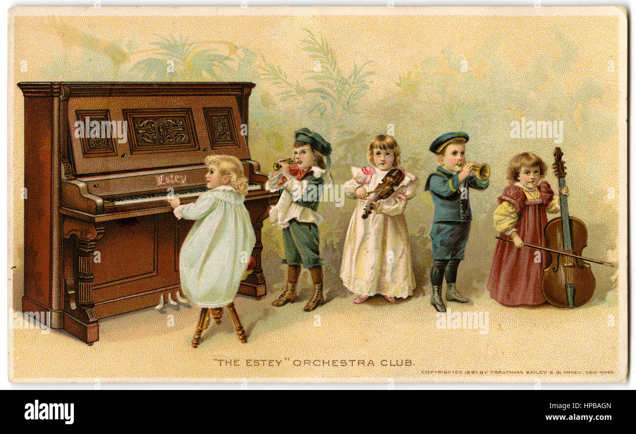 Antique 1897 Victorian chromolithographic trade card for Estey Piano Company of New York. - Stock Image
