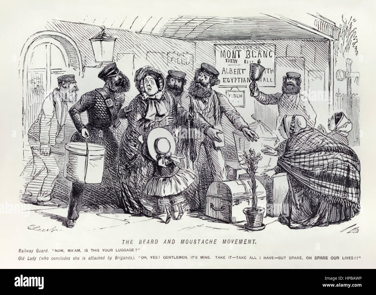 """""""The Beard and Moustache Movement – Railway Guard: """"Now Ma'am, is this your luggage? Old Lady (who concludes she - Stock Image"""