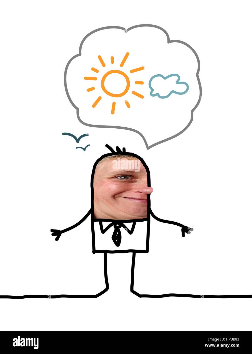 Cartoon people - Optimistic man - Stock Image