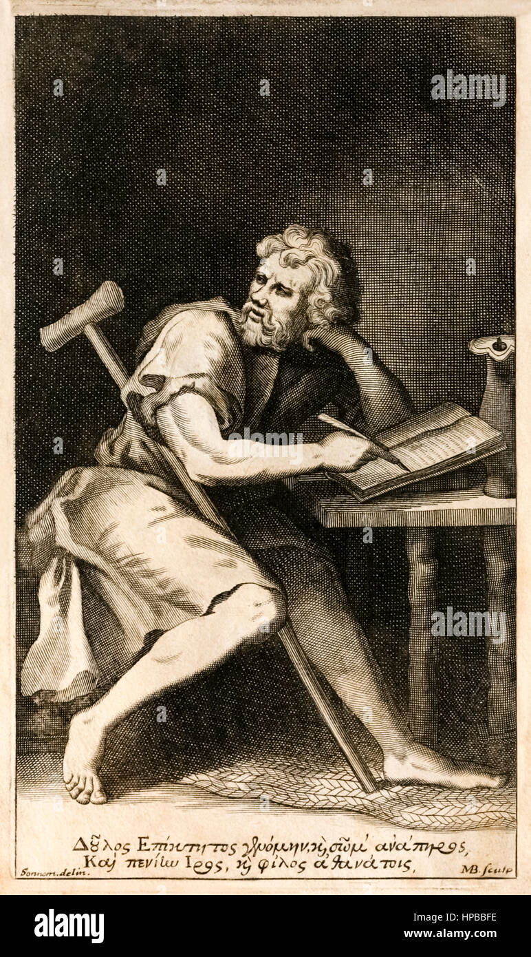 Epictetus (50-135) Greek stoic philosopher who work survives in the works of his pupil Arrian, in the Enchiridion. - Stock Image