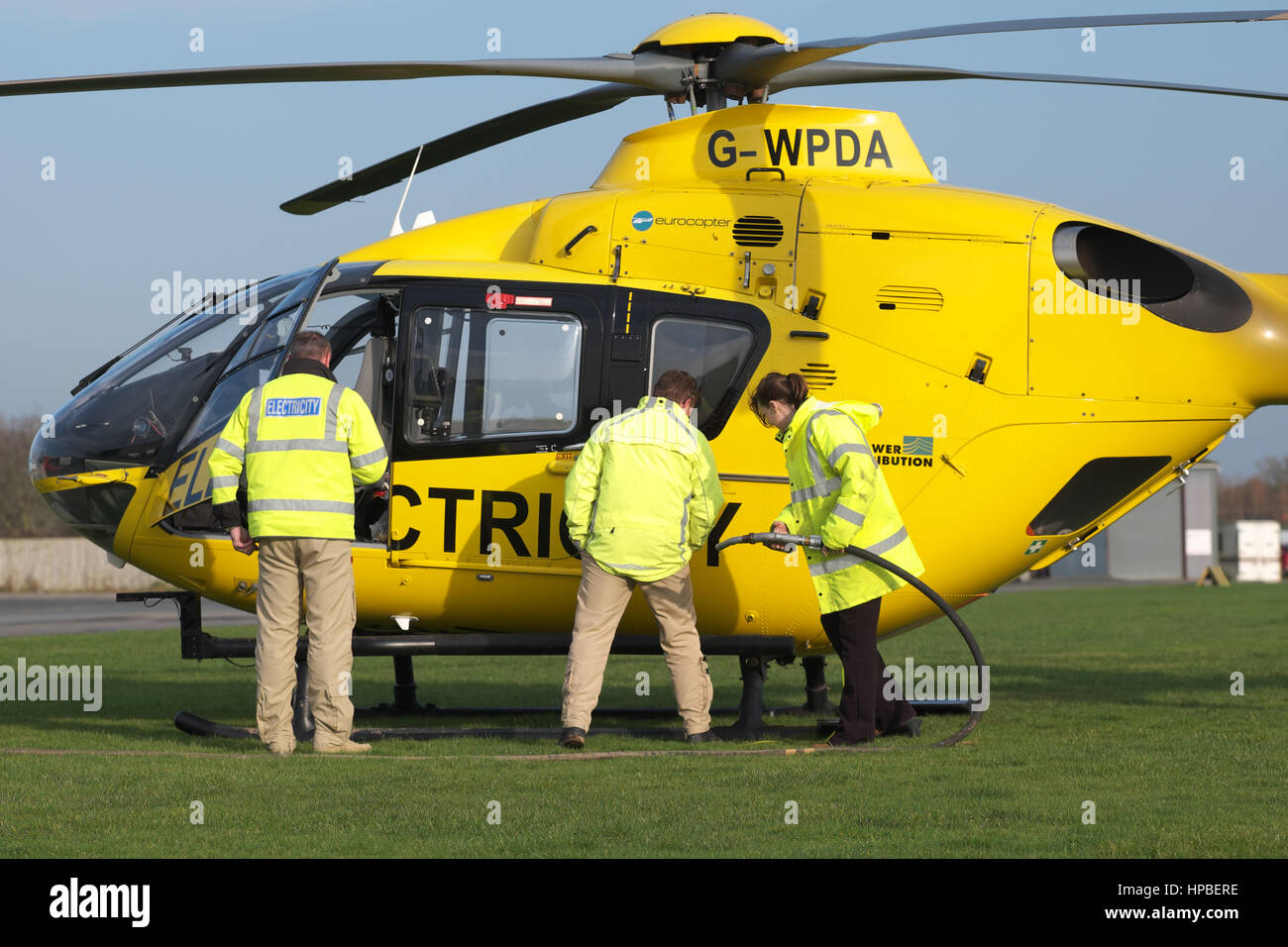 Eurocopter EC 135 helicopter used for electricity power supply  checking by Western Power Distribution WPD in UK Stock Photo