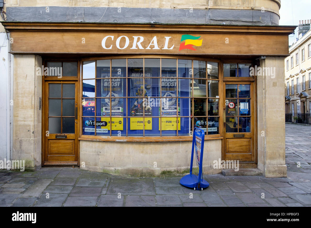 A Coral bookmakers / bookies high street betting shop front is pictured in Bath. - Stock Image