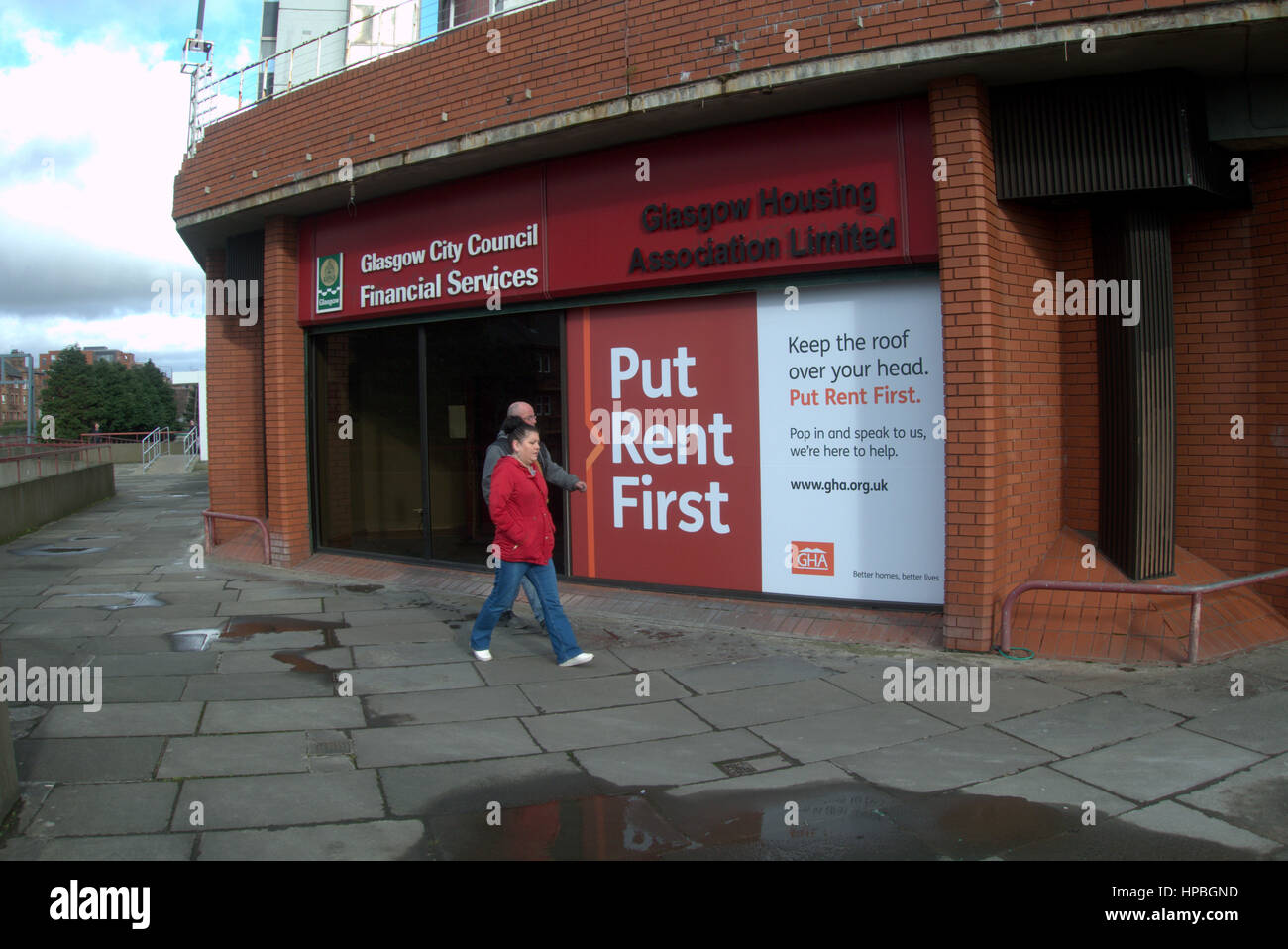 council rent office with put rent first sign to deter rent arrears and homelessness - Stock Image