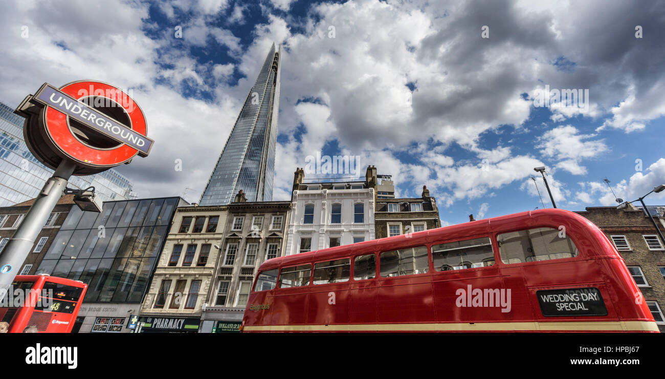 The Shard by Architect t Renzo Piano, Southwalk, double-decker bus,  Clouds, London, UK - Stock Image