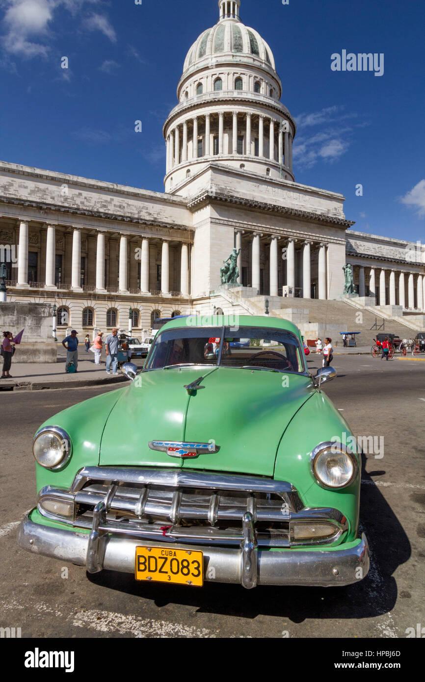 Oltimer, Capitol, Havanna, Habana, Cuba Stock Photo