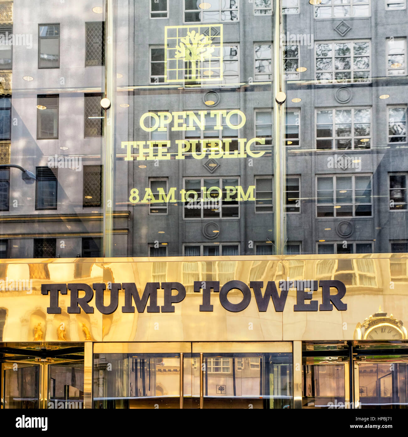 Trump Tower, golden entrance sign, fith avenue, Donald Trump, New York City, United States of America Stock Photo