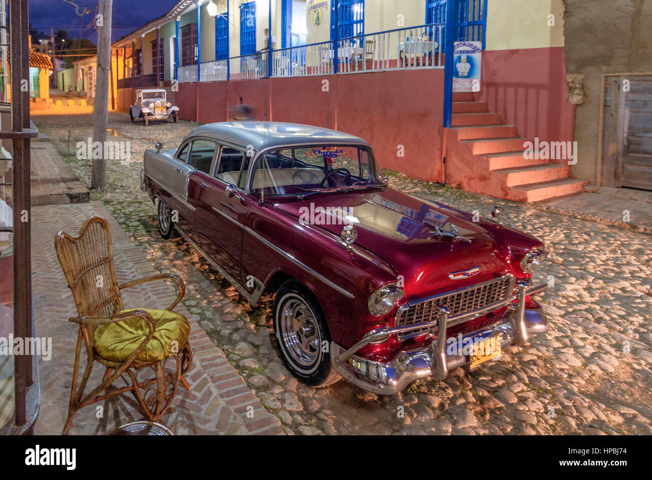 Oldtimer, Street with cobblestone, Trinidad Cuba, West Indies, - Stock Image