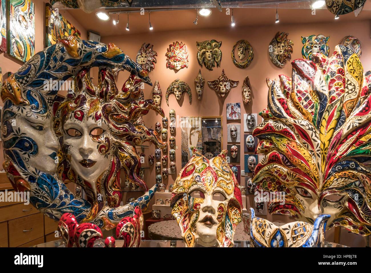 Venetian masks shop, Venezia, Venice, Venedig, Italia, Europe, - Stock Image