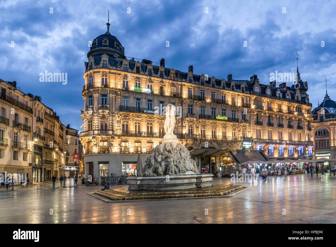 Place de la Comedie, Three graces fountain, Montpellier, France, - Stock Image