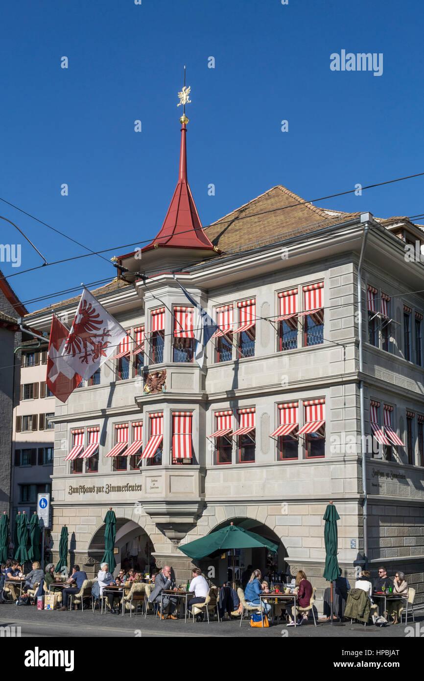 Limmatquai with guild house , Zur Zimmerleuten, old town of Zurich, Canton of Zurich, Switzerland, Europe - Stock Image