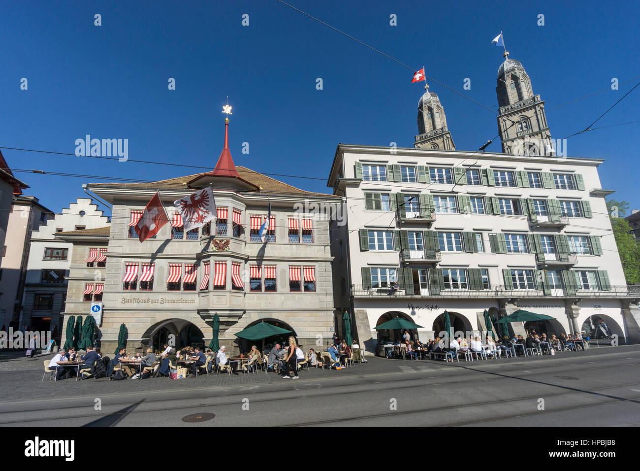 Limmatquai with guild house , Zur Zimmerleuten,  Grossmunster, Cathedral,  old town of Zurich, Canton of Zurich, - Stock Image